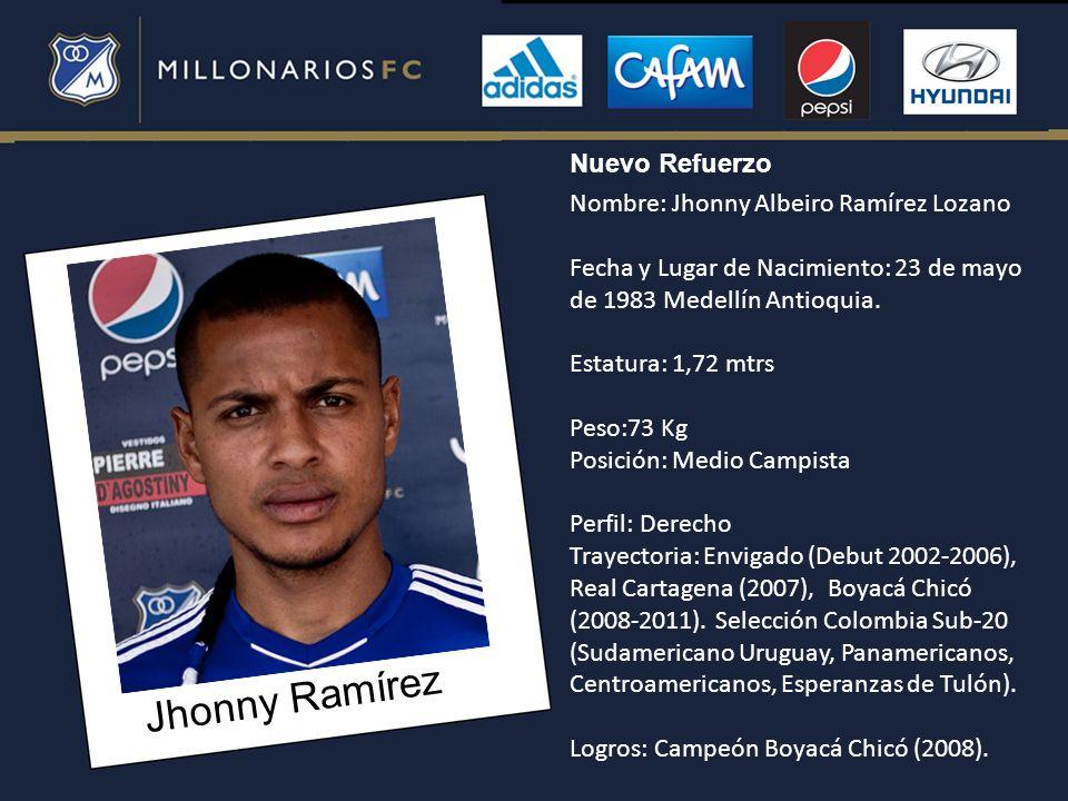Jhonny Ramírez Nuevo Refuerzo Nombre: Jhonny Albeiro Ramírez Lozano