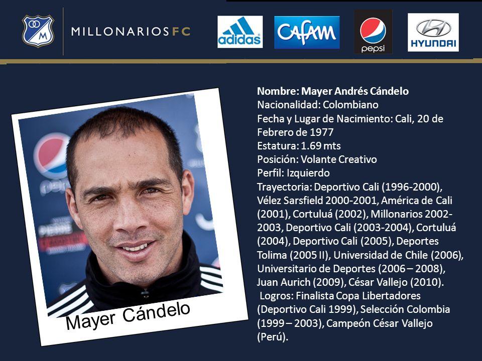 Mayer Cándelo Nombre: Mayer Andrés Cándelo Nacionalidad: Colombiano