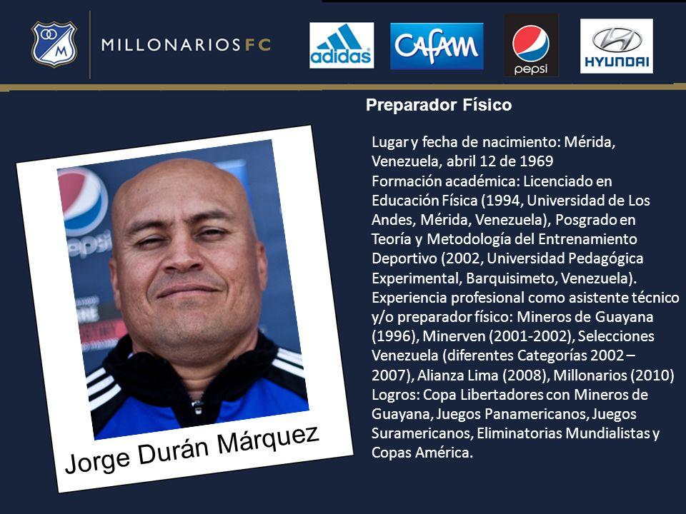 Jorge Durán Márquez Preparador Físico