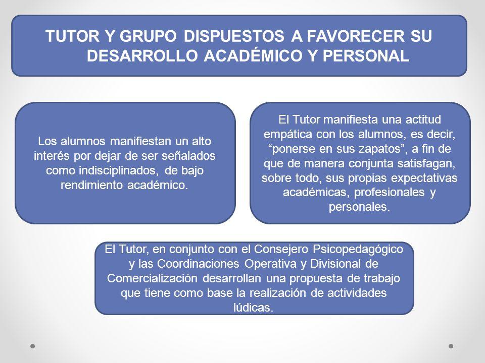 TUTOR Y GRUPO DISPUESTOS A FAVORECER SU DESARROLLO ACADÉMICO Y PERSONAL