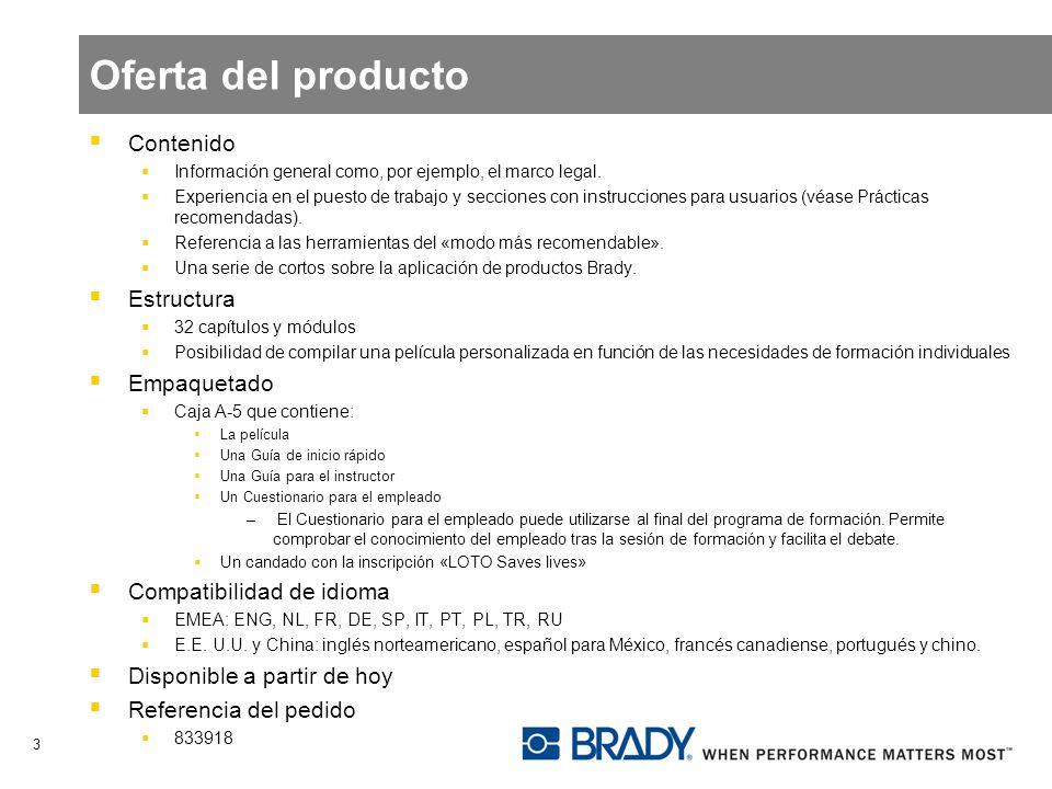 Oferta del producto Contenido Estructura Empaquetado