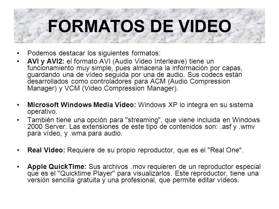 FORMATOS DE VIDEO Podemos destacar los siguientes formatos:
