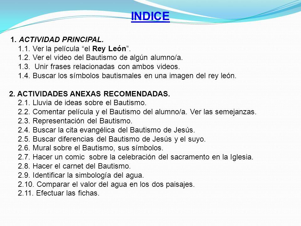 INDICE 1.1. Ver la película el Rey León .