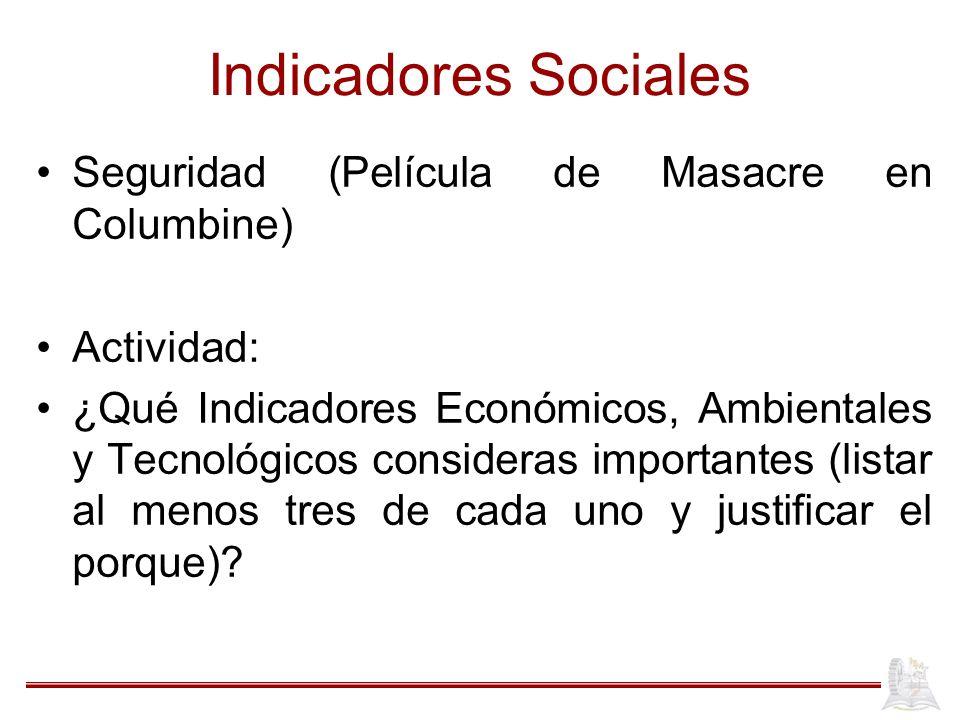 Indicadores Sociales Seguridad (Película de Masacre en Columbine)