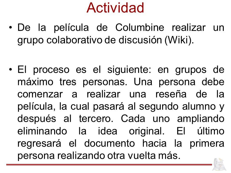 Actividad De la película de Columbine realizar un grupo colaborativo de discusión (Wiki).