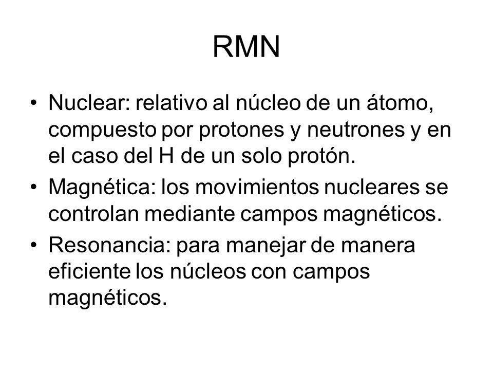 RMN Nuclear: relativo al núcleo de un átomo, compuesto por protones y neutrones y en el caso del H de un solo protón.