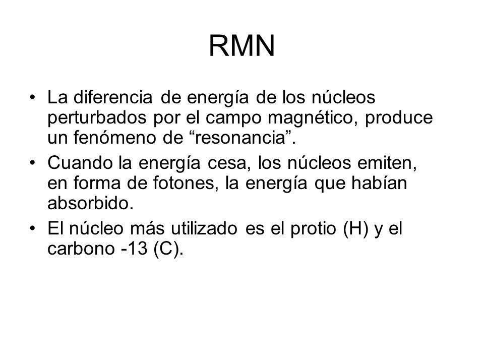 RMN La diferencia de energía de los núcleos perturbados por el campo magnético, produce un fenómeno de resonancia .