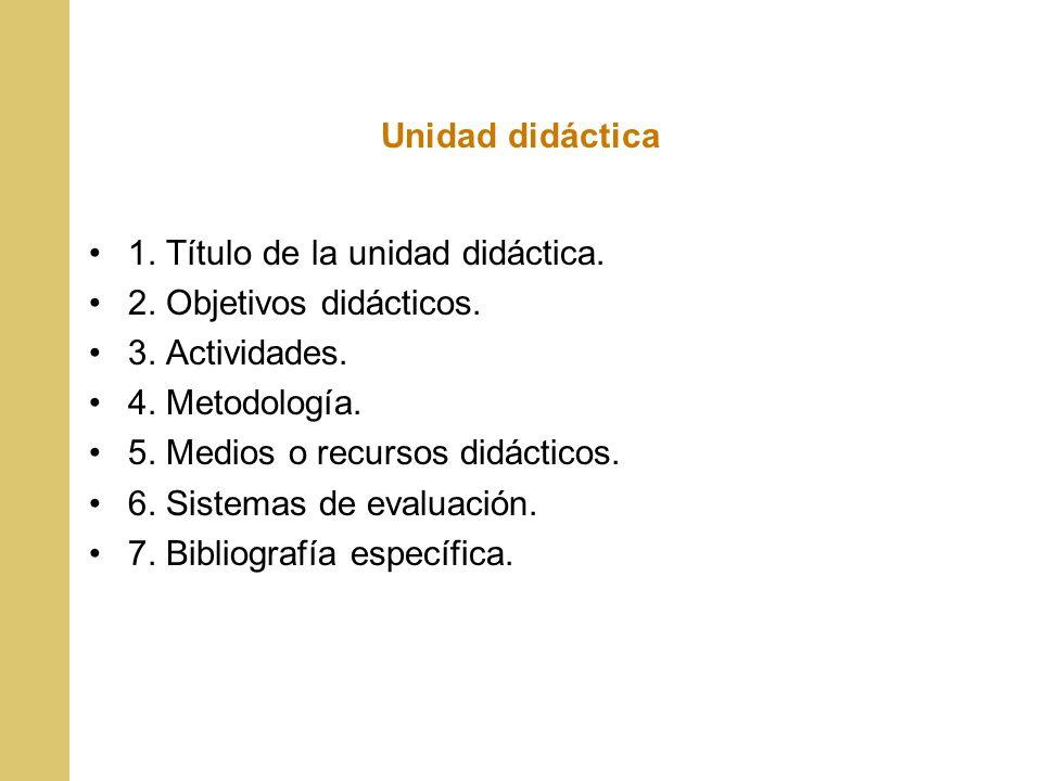 Unidad didáctica 1. Título de la unidad didáctica. 2. Objetivos didácticos. 3. Actividades. 4. Metodología.
