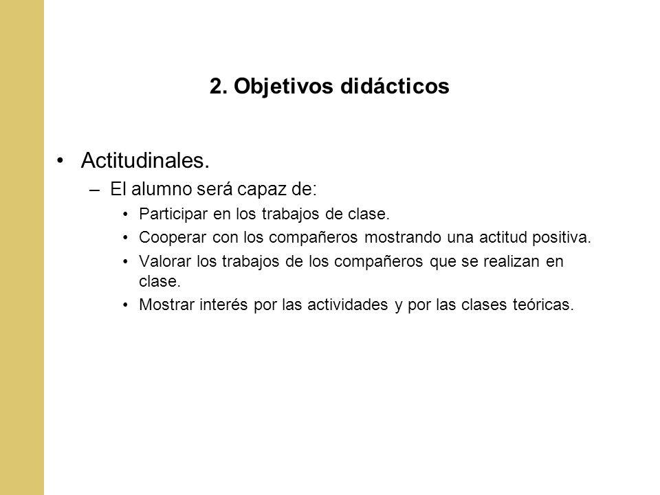 2. Objetivos didácticos Actitudinales. El alumno será capaz de: