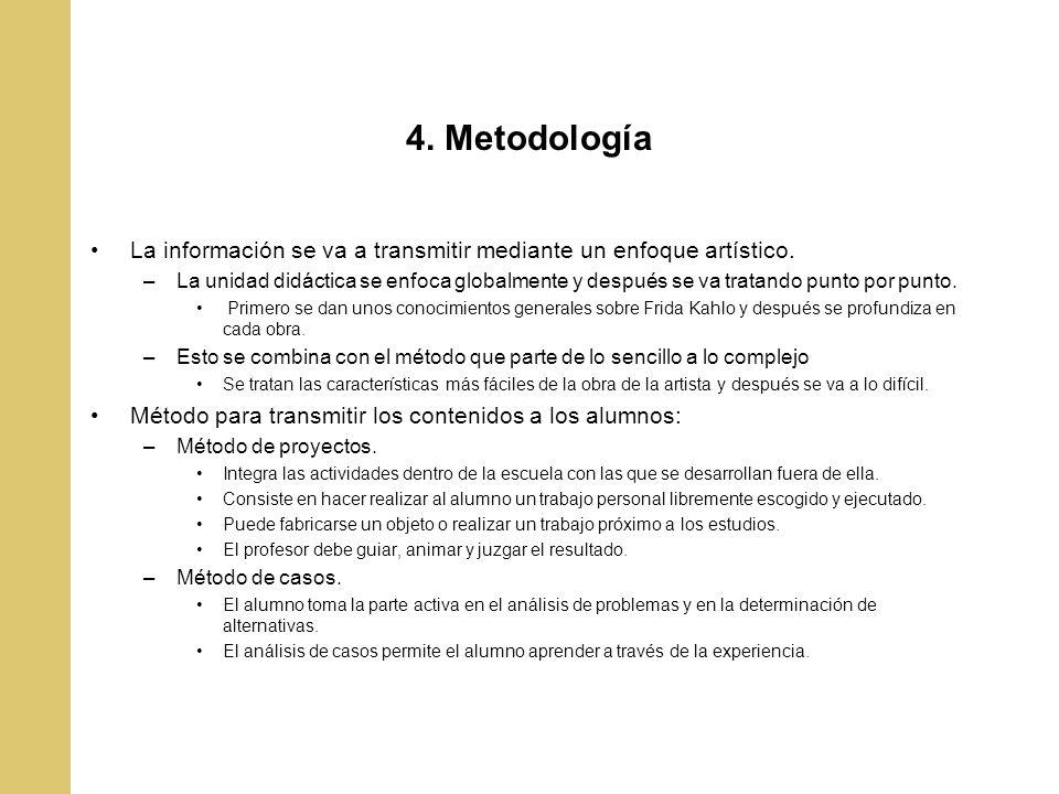 4. Metodología La información se va a transmitir mediante un enfoque artístico.