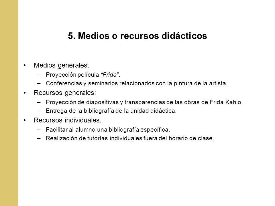 5. Medios o recursos didácticos