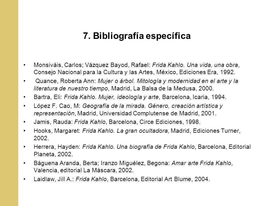 7. Bibliografía específica