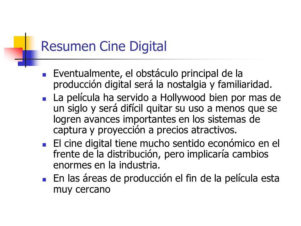 Resumen Cine Digital Eventualmente, el obstáculo principal de la producción digital será la nostalgia y familiaridad.