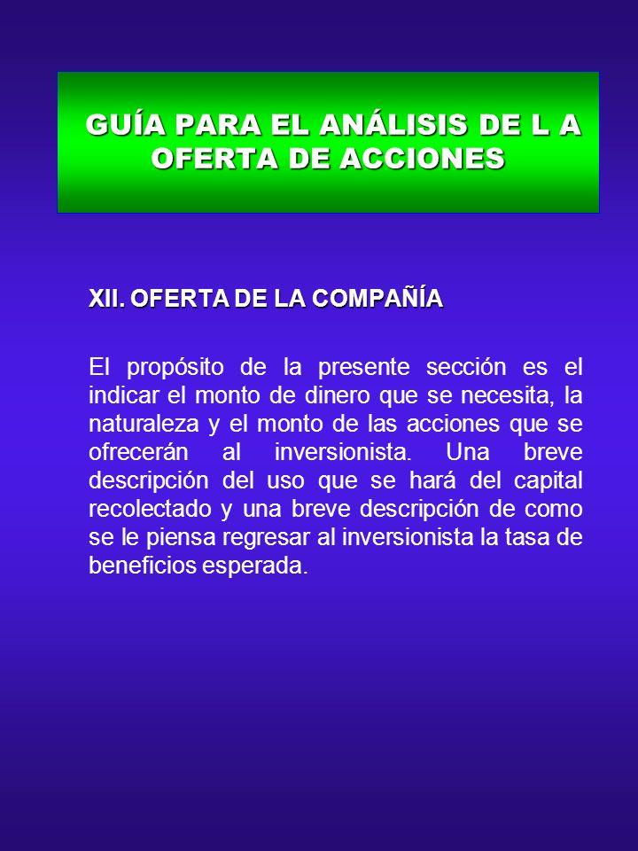 GUÍA PARA EL ANÁLISIS DE L A OFERTA DE ACCIONES