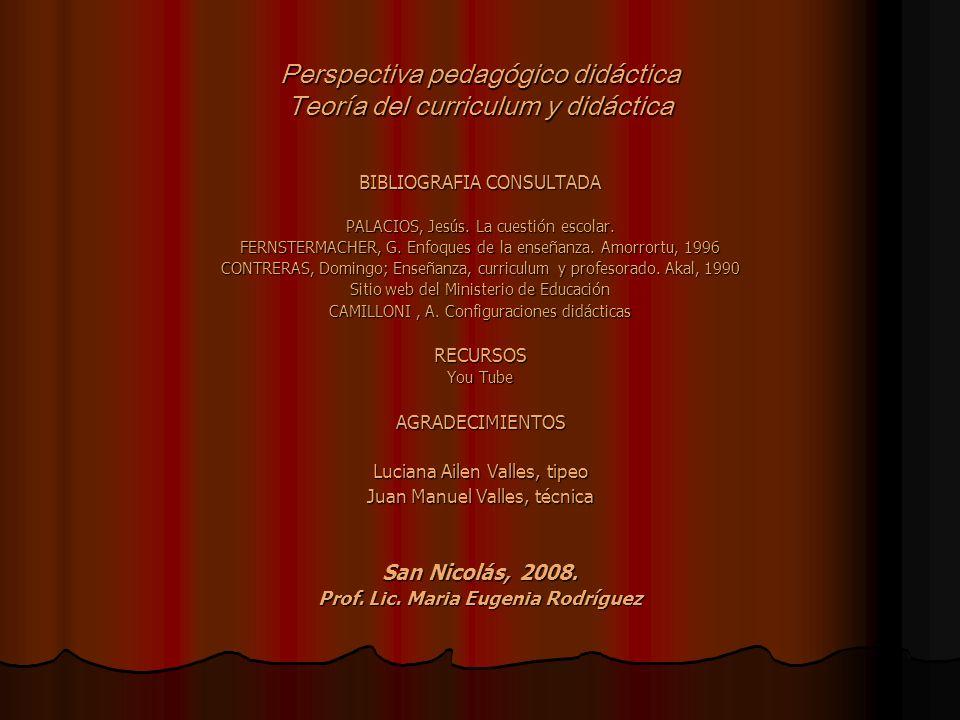Perspectiva pedagógico didáctica Teoría del curriculum y didáctica