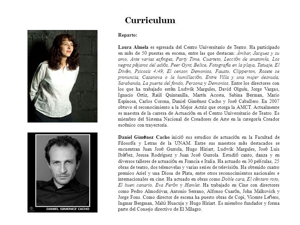 Curriculum Reparto: