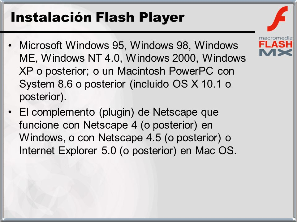 Instalación Flash Player
