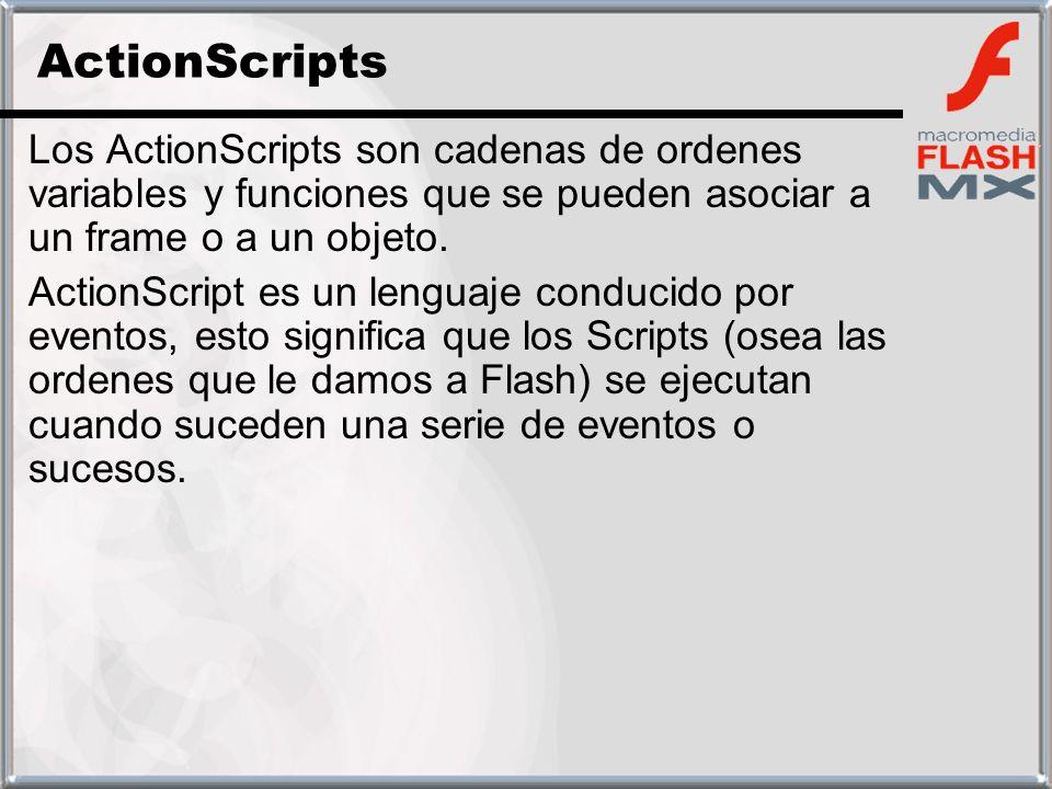 ActionScripts Los ActionScripts son cadenas de ordenes variables y funciones que se pueden asociar a un frame o a un objeto.