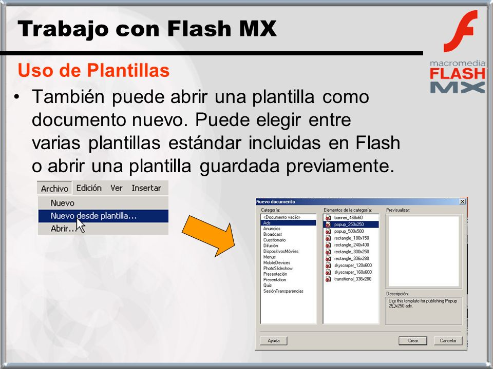 Trabajo con Flash MX Uso de Plantillas