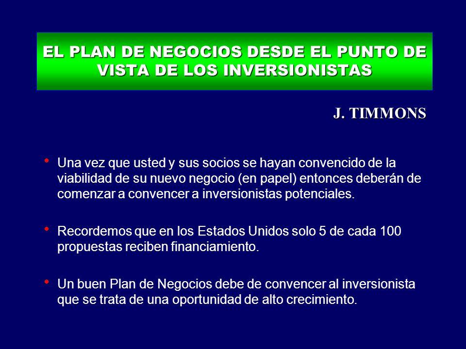 EL PLAN DE NEGOCIOS DESDE EL PUNTO DE VISTA DE LOS INVERSIONISTAS