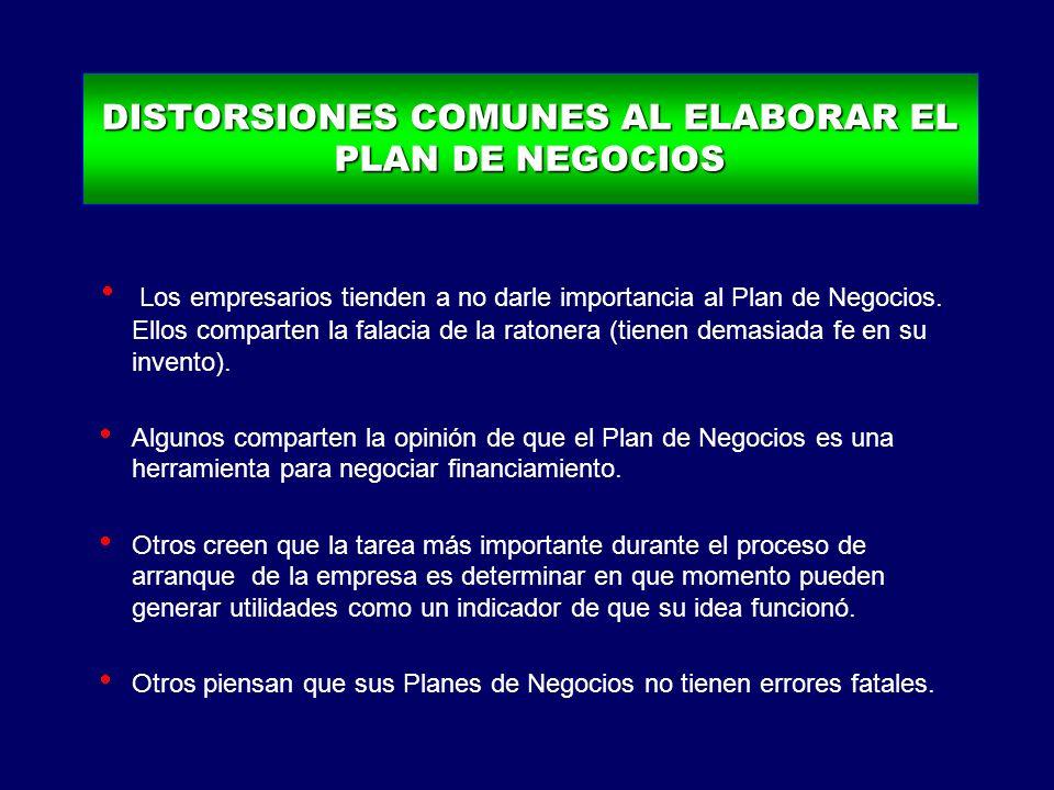 DISTORSIONES COMUNES AL ELABORAR EL PLAN DE NEGOCIOS