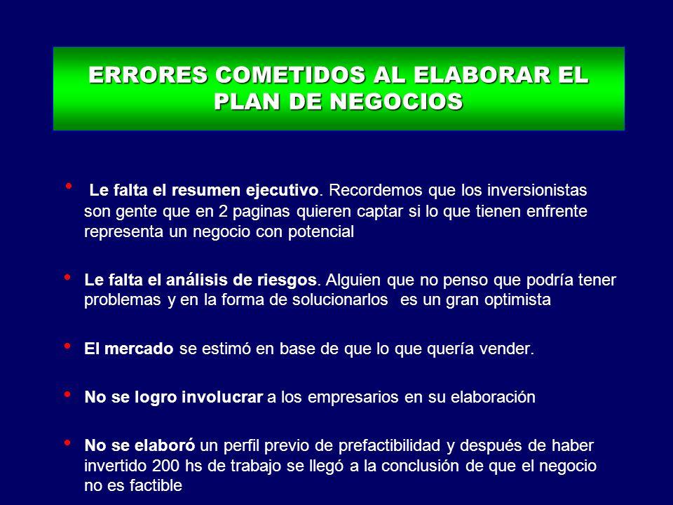 ERRORES COMETIDOS AL ELABORAR EL PLAN DE NEGOCIOS