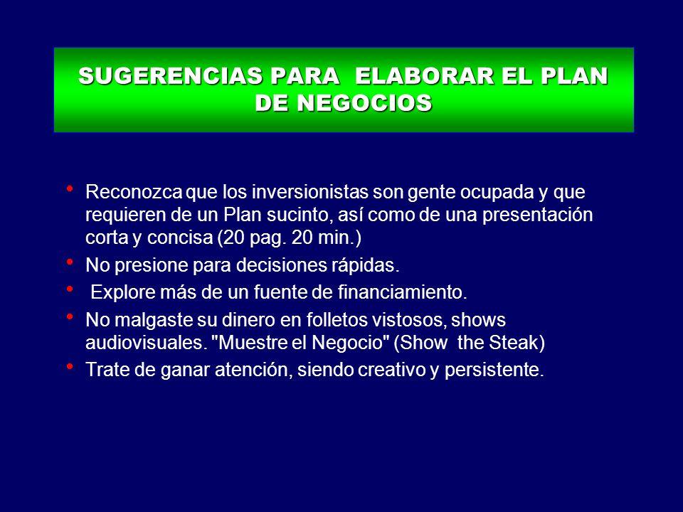 SUGERENCIAS PARA ELABORAR EL PLAN DE NEGOCIOS