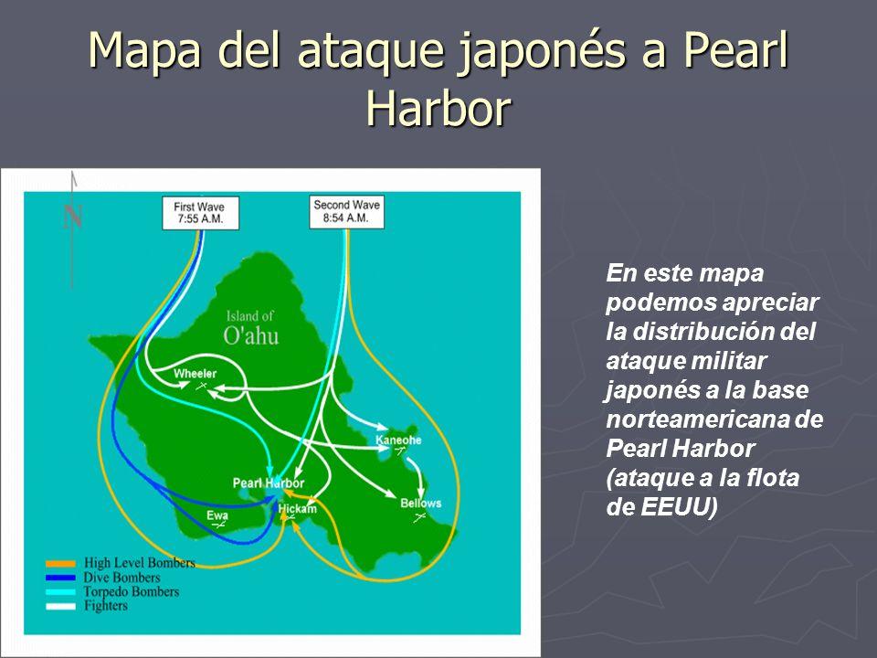 Mapa del ataque japonés a Pearl Harbor