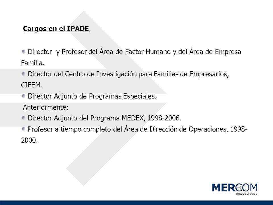 Cargos en el IPADE Director y Profesor del Área de Factor Humano y del Área de Empresa Familia.