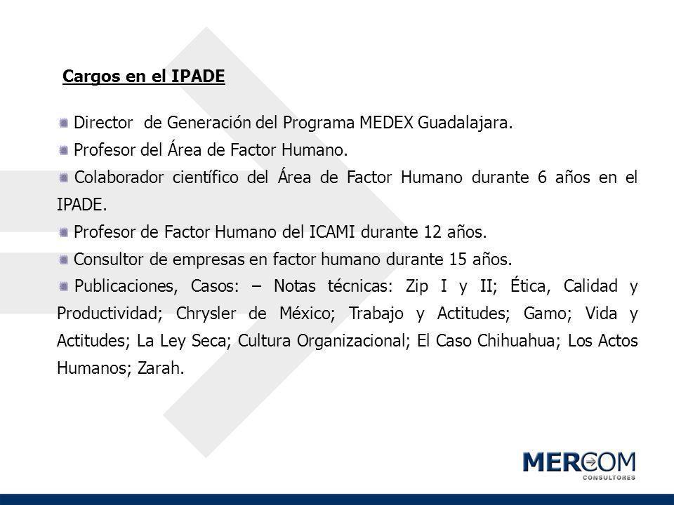 Cargos en el IPADE Director de Generación del Programa MEDEX Guadalajara. Profesor del Área de Factor Humano.