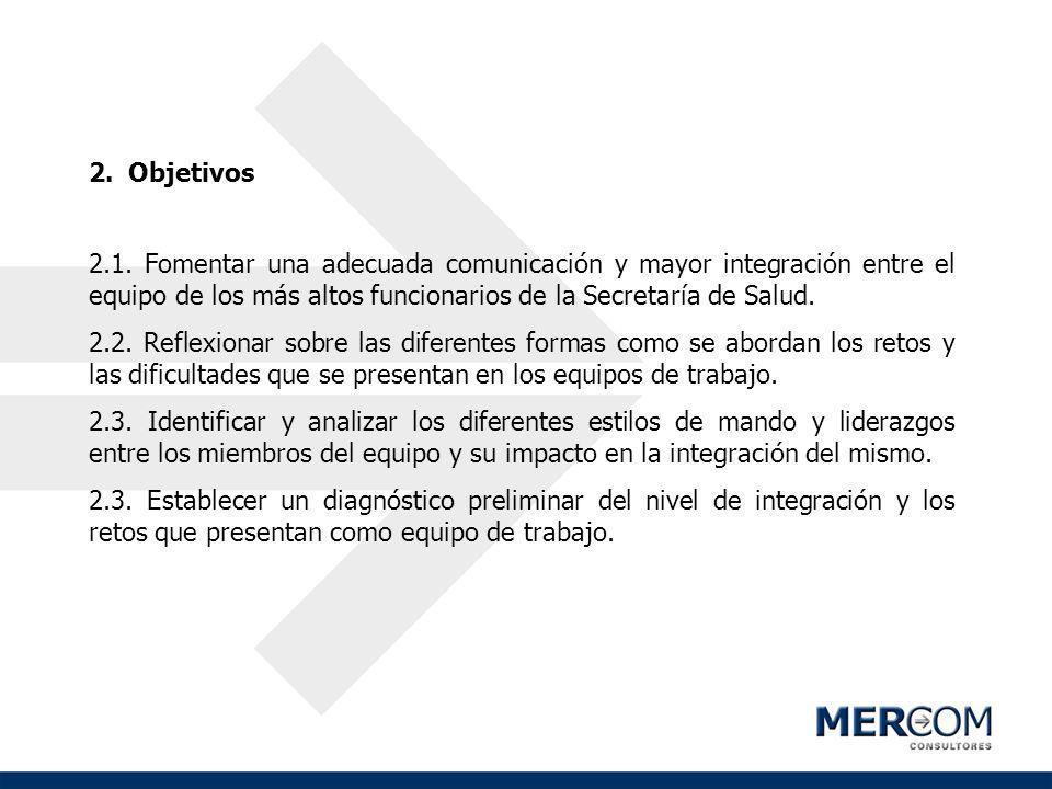 Objetivos 2.1. Fomentar una adecuada comunicación y mayor integración entre el equipo de los más altos funcionarios de la Secretaría de Salud.