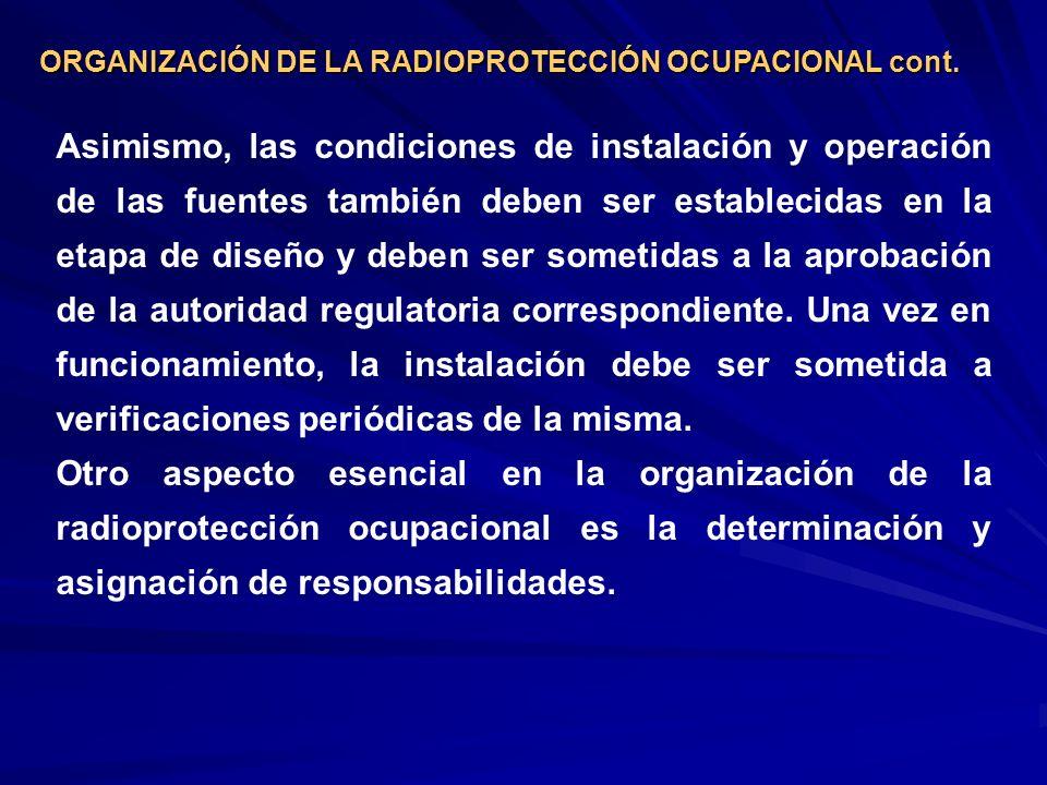 ORGANIZACIÓN DE LA RADIOPROTECCIÓN OCUPACIONAL cont.
