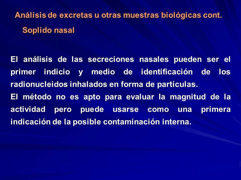 Análisis de excretas u otras muestras biológicas cont.