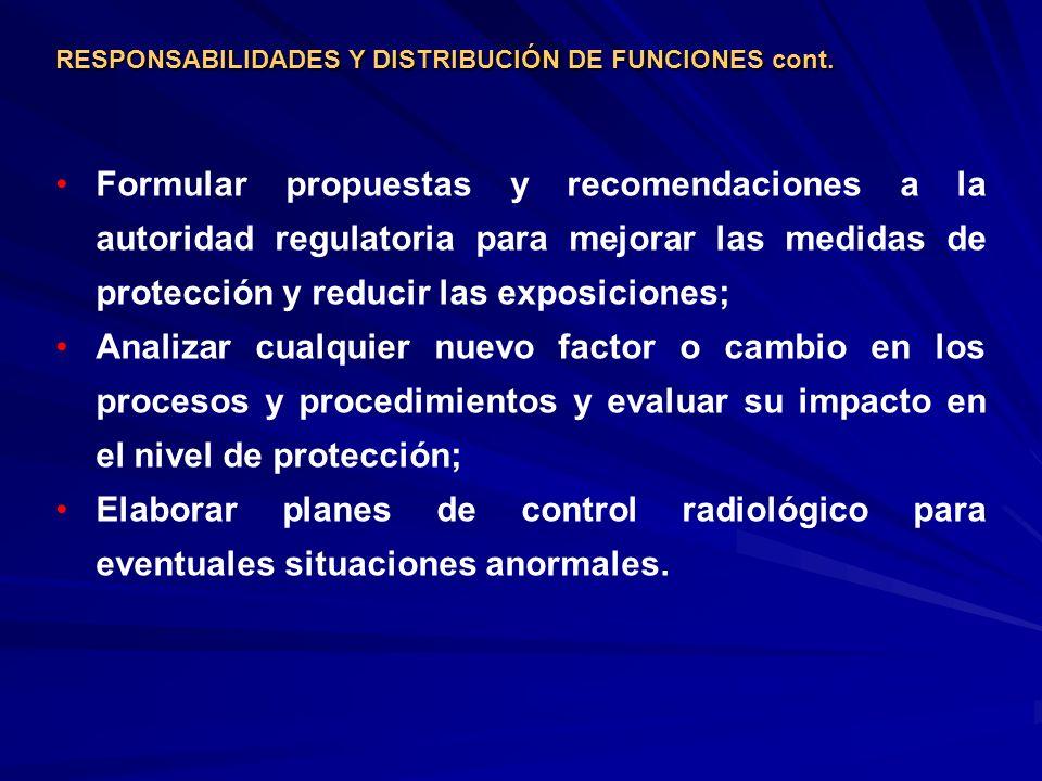 RESPONSABILIDADES Y DISTRIBUCIÓN DE FUNCIONES cont.
