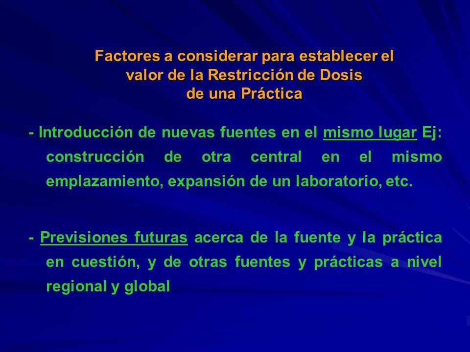 Factores a considerar para establecer el valor de la Restricción de Dosis de una Práctica