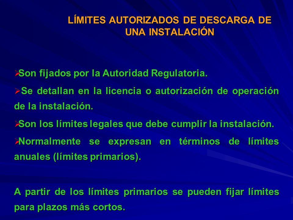 LÍMITES AUTORIZADOS DE DESCARGA DE UNA INSTALACIÓN
