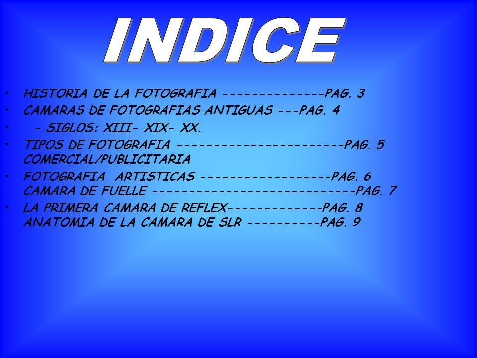 INDICE HISTORIA DE LA FOTOGRAFIA --------------PAG. 3