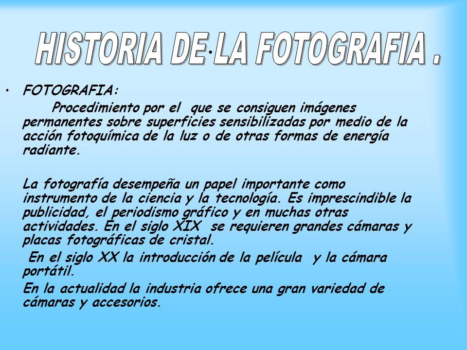HISTORIA DE LA FOTOGRAFIA .