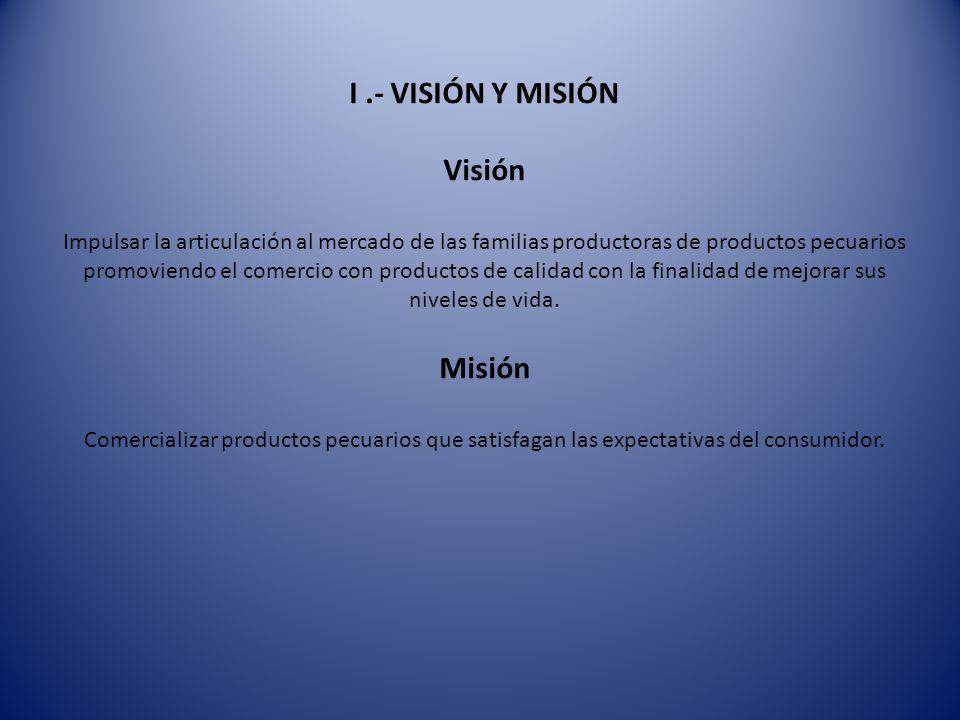 I .- VISIÓN Y MISIÓN Visión Impulsar la articulación al mercado de las familias productoras de productos pecuarios promoviendo el comercio con productos de calidad con la finalidad de mejorar sus niveles de vida.