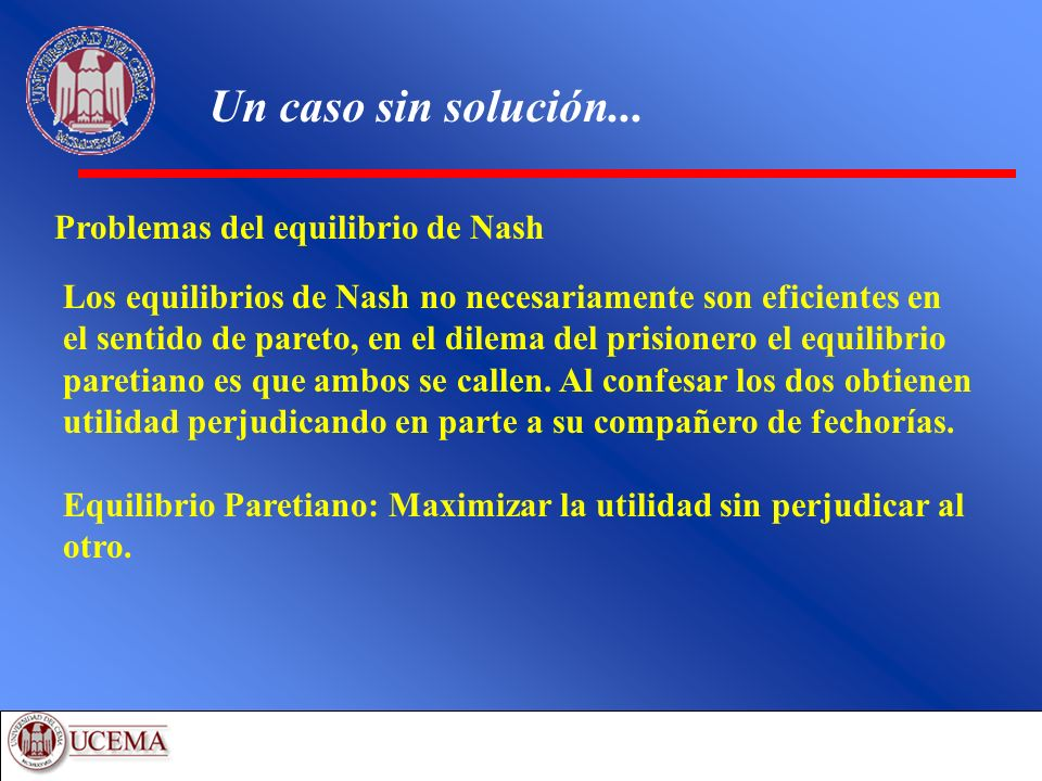 Un caso sin solución... Problemas del equilibrio de Nash