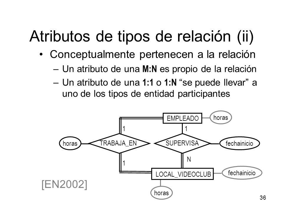 Atributos de tipos de relación (ii)