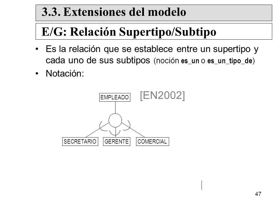 3.3. Extensiones del modelo E/G: Relación Supertipo/Subtipo