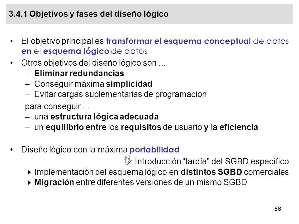3.4.1 Objetivos y fases del diseño lógico