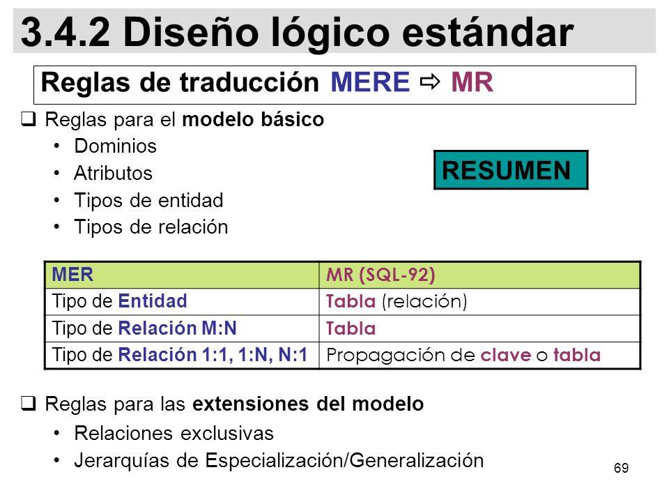 Reglas de traducción MERE  MR