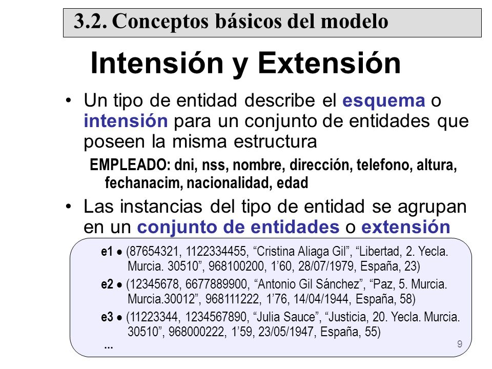 Intensión y Extensión 3.2. Conceptos básicos del modelo