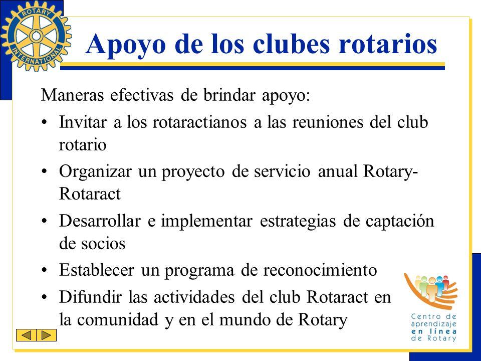 Apoyo de los clubes rotarios