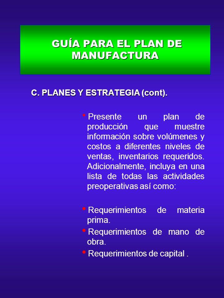 GUÍA PARA EL PLAN DE MANUFACTURA