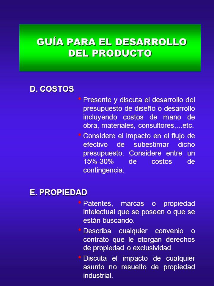 GUÍA PARA EL DESARROLLO DEL PRODUCTO