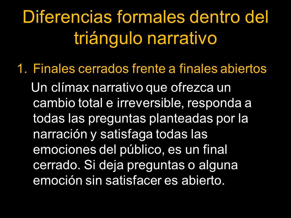 Diferencias formales dentro del triángulo narrativo