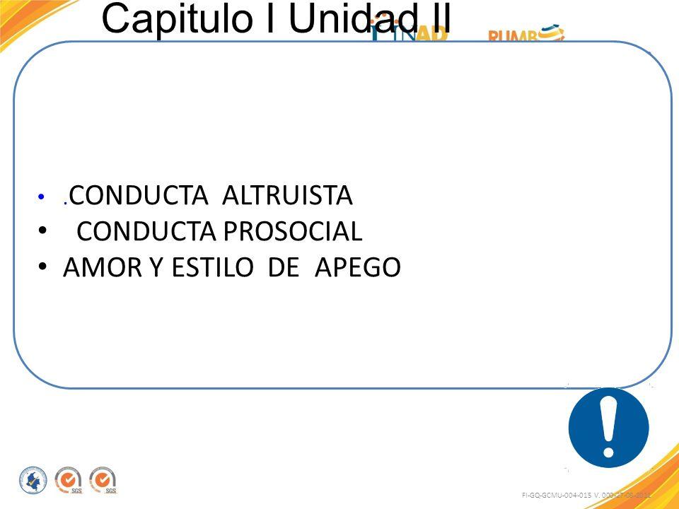 Capitulo I Unidad II CONDUCTA PROSOCIAL AMOR Y ESTILO DE APEGO